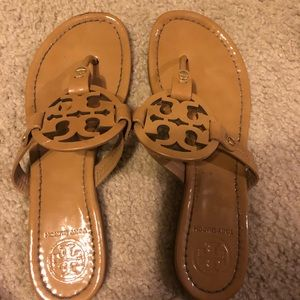 Tan patent leather Tory Burch flip flops